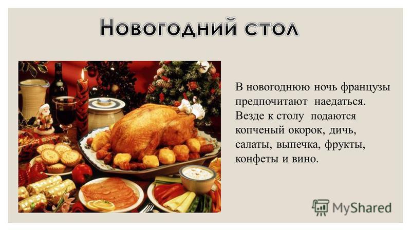 В новогоднюю ночь французы предпочитают наедаться. Везде к столу подаются копченый окорок, дичь, салаты, выпечка, фрукты, конфеты и вино.