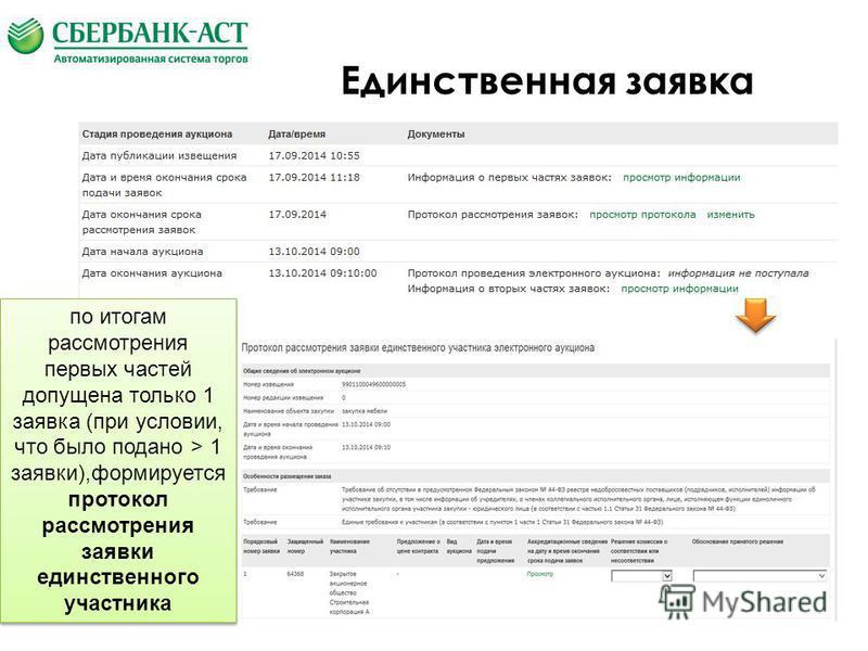 Единственная заявка по итогам рассмотрения первых частей допущена только 1 заявка (при условии, что было подано > 1 заявки),формируется протокол рассмотрения заявки единственного участника