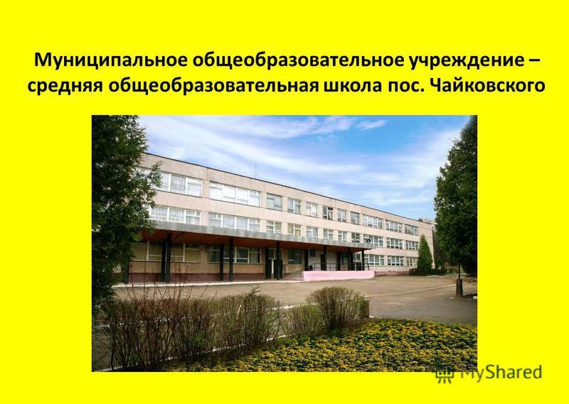Муниципальное общеобразовательное учреждение – средняя общеобразовательная школа пос. Чайковского