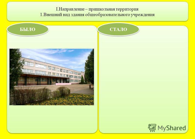 I.Направление – пришкольная территория 1. Внешний вид здания общеобразовательного учреждения БЫЛО СТАЛО