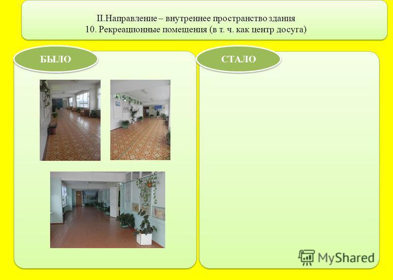 II.Направление – внутреннее пространство здания 10. Рекреационные помещения (в т. ч. как центр досуга) БЫЛО СТАЛО