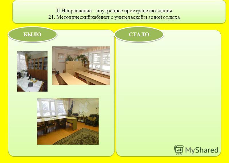 II.Направление – внутреннее пространство здания 21. Методический кабинет с учительской и зоной отдыха БЫЛО СТАЛО