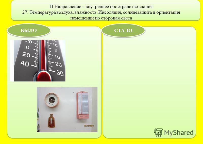 II.Направление – внутреннее пространство здания 27. Температура воздуха, влажность. Инсоляция, солнцезащита и ориентация помещений по сторонам света БЫЛО СТАЛО