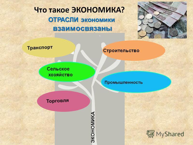 Что такое ЭКОНОМИКА? Промышленность Транспорт Сельское хозяйство Торговля Строительство ЭКОНОМИКА ОТРАСЛИ экономики взаимосвязаны взаимосвязаны