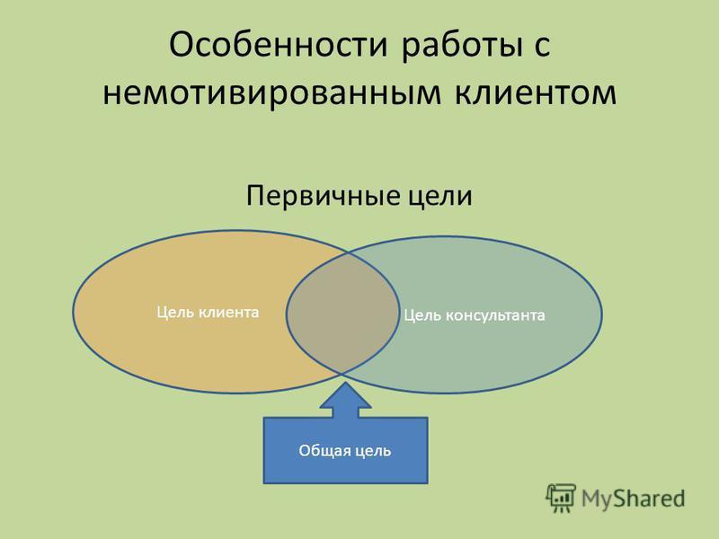 Особенности работы с немотивированным клиентом Первичные цели Цель клиента Цель консультанта Общая цель