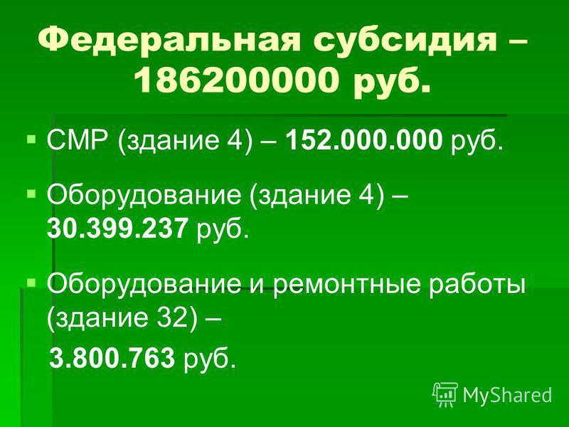 Федеральная субсидия – 186200000 руб. СМР (здание 4) – 152.000.000 руб. Оборудование (здание 4) – 30.399.237 руб. Оборудование и ремонтные работы (здание 32) – 3.800.763 руб.