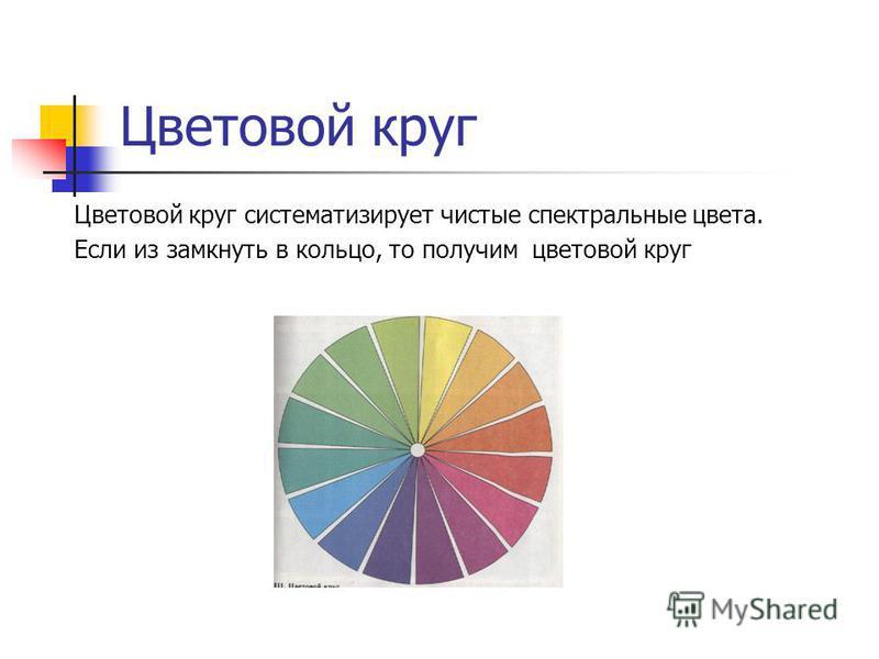 Цветовой круг Цветовой круг систематизирует чистые спектральные цвета. Если из замкнуть в кольцо, то получим цветовой круг