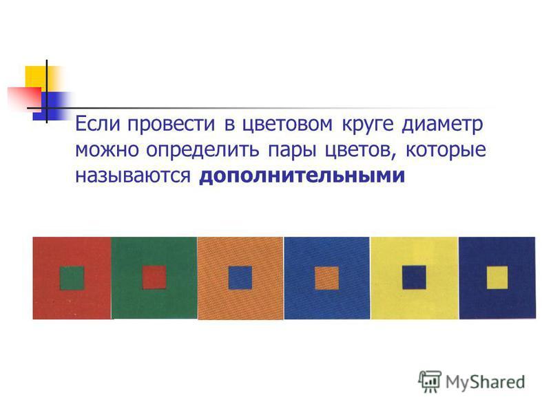 Если провести в цветовом круге диаметр можно определить пары цветов, которые называются дополнительными