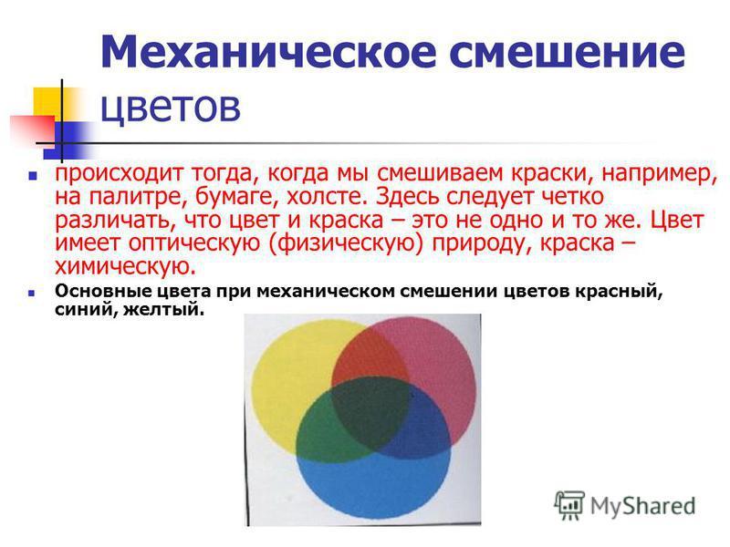 Механическое смешение цветов происходит тогда, когда мы смешиваем краски, например, на палитре, бумаге, холсте. Здесь следует четко различать, что цвет и краска – это не одно и то же. Цвет имеет оптическую (физическую) природу, краска – химическую. О