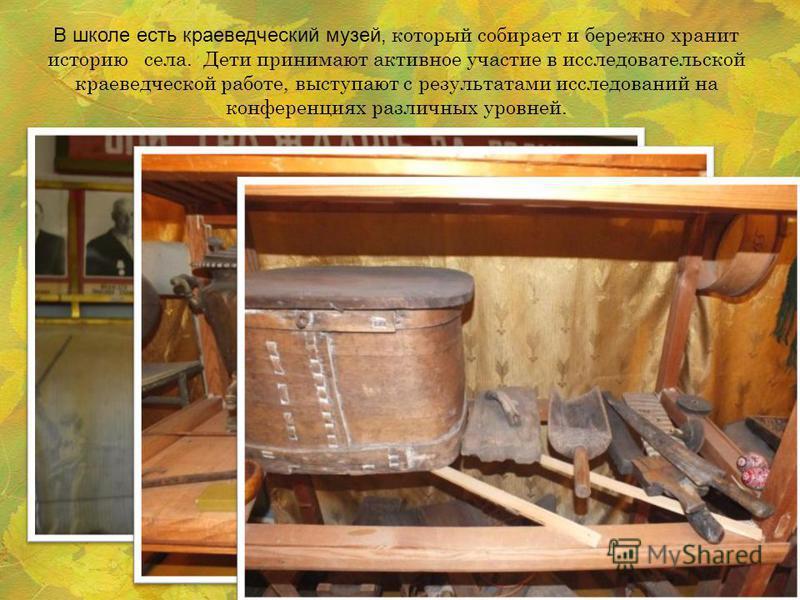 В школе есть краеведческий музей, который собирает и бережно хранит историю села. Дети принимают активное участие в исследовательской краеведческой работе, выступают с результатами исследований на конференциях различных уровней.