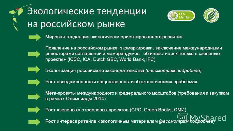 Экологические тенденции на российском рынке Мировая тенденция экологически ориентированного развития Появление на российском рынке экомаркировки, заключение международными инвесторами соглашений и меморандумов об инвестициях только в «зелёные проекты