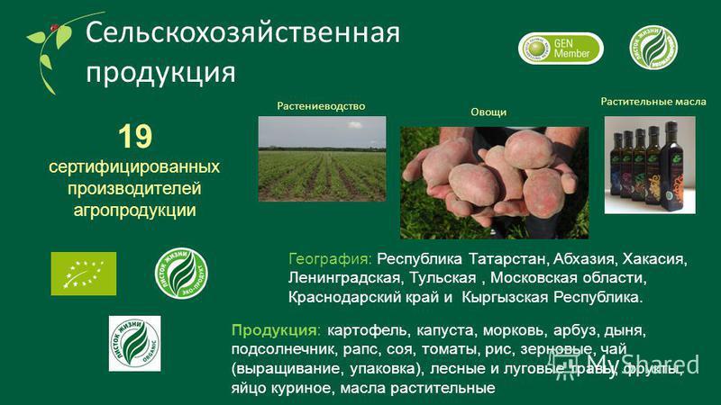 Сельскохозяйственная продукция 19 сертифицированных производителей агропродукции Продукция: картофель, капуста, морковь, арбуз, дыня, подсолнечник, рапс, соя, томаты, рис, зерновые, чай (выращивание, упаковка), лесные и луговые травы, фрукты, яйцо ку