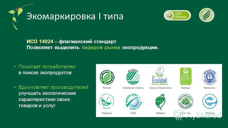 Экомаркировка I типа Помогает потребителям в поиске экопродуктов Вдохновляет производителей улучшать экологические характеристики своих товаров и услуг ИСО 14024 – флагманский стандарт Позволяет выделить лидеров рынка эко продукции.