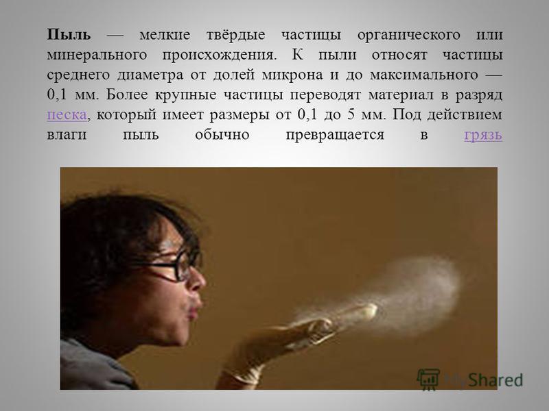 Пыль мелкие твёрдые частицы органического или минерального происхождения. К пыли относят частицы среднего диаметра от долей микрона и до максимального 0,1 мм. Более крупные частицы переводят материал в разряд песка, который имеет размеры от 0,1 до 5