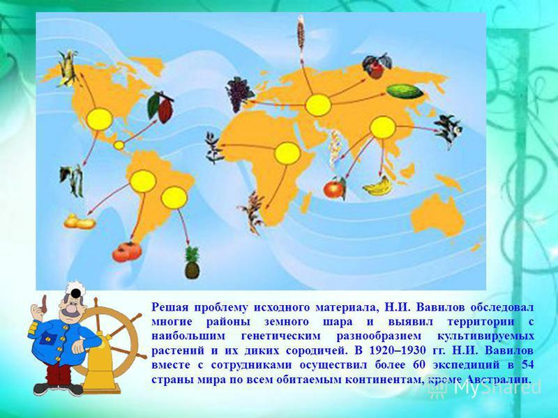 Решая проблему исходного материала, Н.И. Вавилов обследовал многие районы земного шара и выявил территории с наибольшим генетическим разнообразием культивируемых растений и их диких сородичей. В 1920–1930 гг. Н.И. Вавилов вместе с сотрудниками осущес
