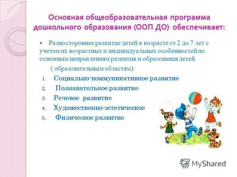 Основная общеобразовательная программа дошкольного образования ( ООП ДО ) обеспечивает : Разностороннее развитие детей в возрасте от 2 до 7 лет с учетом их возрастных и индивидуальных особенностей по основным направлениям развития и образования детей