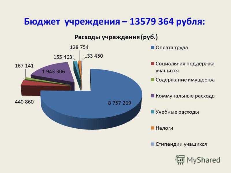 Бюджет учреждения – 13579 364 рубля: