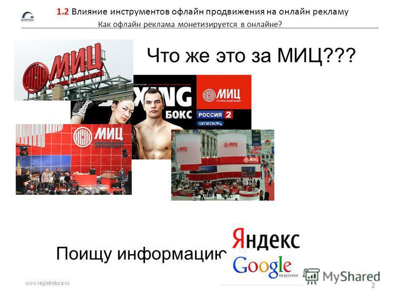www.registratura.ru 1.2 Влияние инструментов офлайн продвижения на онлайн рекламу Как офлайн реклама монетизируется в онлайне? Поищу информацию Что же это за МИЦ??? 2
