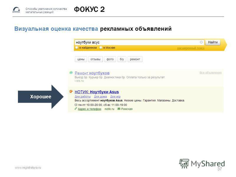 www.registratura.ru ФОКУС 2 Визуальная оценка качества рекламных объявлений Способы увеличения количества желательных реакций Хорошее 37