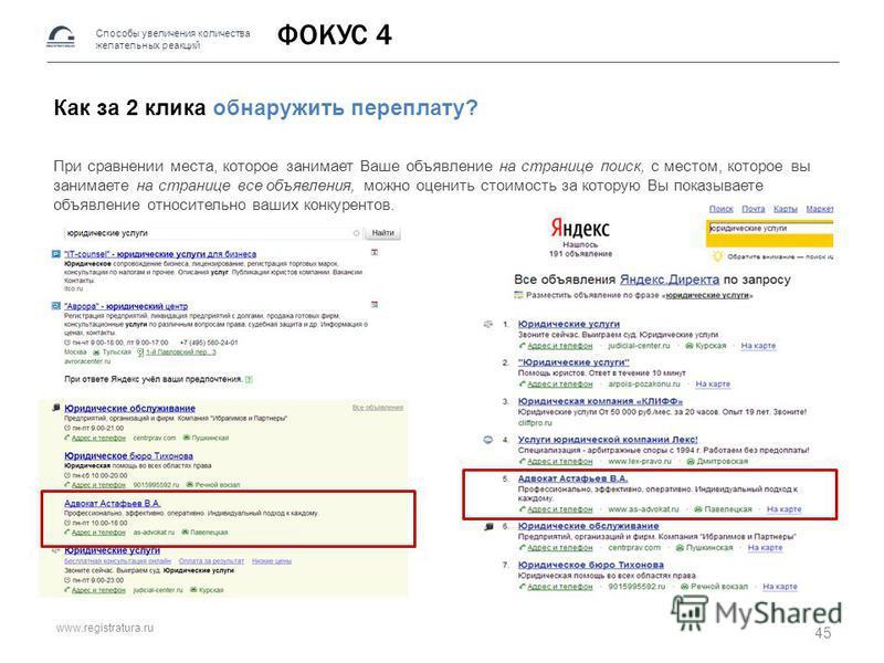 www.registratura.ru ФОКУС 4 Как за 2 клика обнаружить переплату? При сравнении места, которое занимает Ваше объявление на странице поиск, с местом, которое вы занимаете на странице все объявления, можно оценить стоимость за которую Вы показываете объ