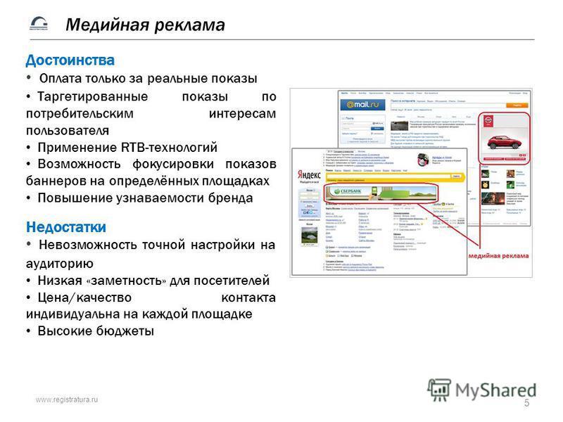 www.registratura.ru Достоинства Оплата только за реальные показы Таргетированные показы по потребительским интересам пользователя Применение RTB-технологий Возможность фокусировки показов баннеров на определённых площадках Повышение узнаваемости брен