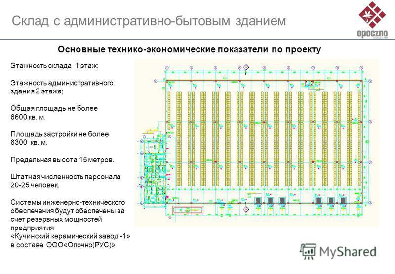 Этажность склада 1 этаж; Этажность административного здания 2 этажа; Общая площадь не более 6600 кв. м. Площадь застройки не более 6300 кв. м. Предельная высота 15 метров. Штатная численность персонала 20-25 человек. Системы инженерно-технического об