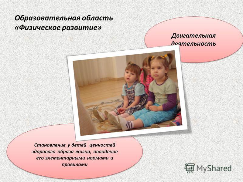 Образовательная область «Физическое развитие» Двигательная деятельность Становление у детей ценностей здорового образа жизни, овладение его элементарными нормами и правилами