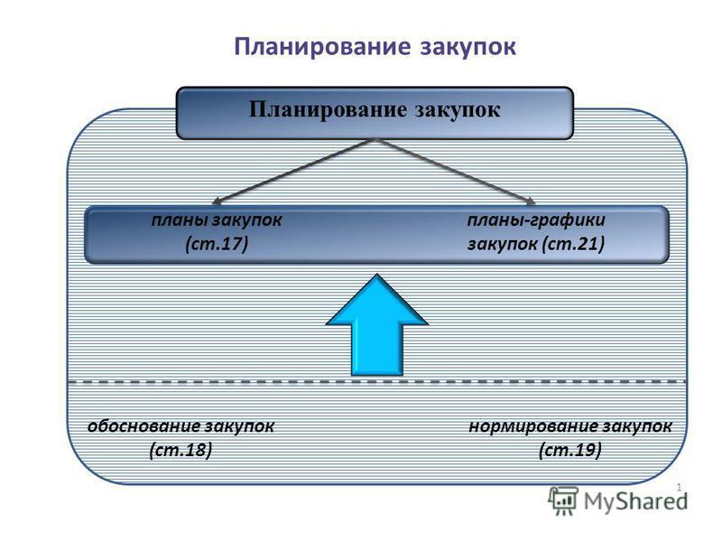 1 Планирование закупок планы закупок (ст.17) планы-графики закупок (ст.21) обоснование закупок (ст.18) нормирование закупок (ст.19)