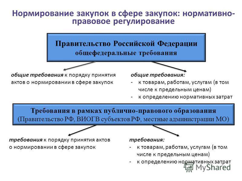 3 Нормирование закупок в сфере закупок: нормативно- правовое регулирование Правительство Российской Федерации общефедеральные требования общие требования к порядку принятия актов о нормировании в сфере закупок общие требования: -к товарам, работам, у
