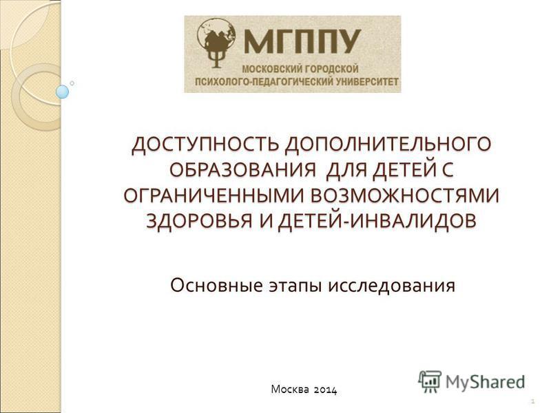 ДОСТУПНОСТЬ ДОПОЛНИТЕЛЬНОГО ОБРАЗОВАНИЯ ДЛЯ ДЕТЕЙ С ОГРАНИЧЕННЫМИ ВОЗМОЖНОСТЯМИ ЗДОРОВЬЯ И ДЕТЕЙ - ИНВАЛИДОВ Основные этапы исследования Москва 2014 1
