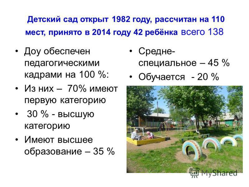 Детский сад открыт 1982 году, рассчитан на 110 мест, принято в 2014 году 42 ребёнка всего 138 Доу обеспечен педагогическими кадрами на 100 %: Из них – 70% имеют первую категорию 30 % - высшую категорию Имеют высшее образование – 35 % Средне- специаль
