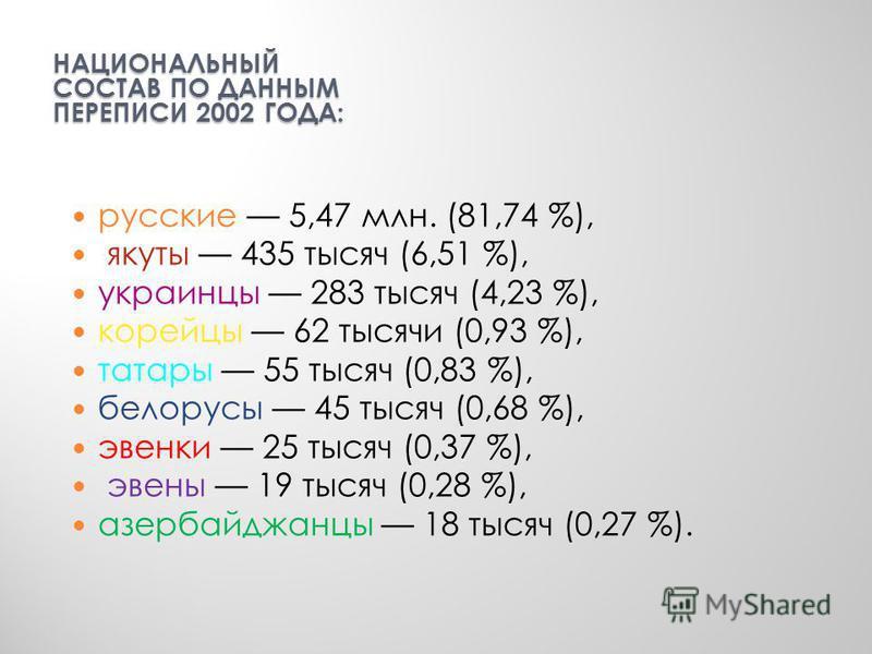 НАЦИОНАЛЬНЫЙ СОСТАВ ПО ДАННЫМ ПЕРЕПИСИ 2002 ГОДА: русские 5,47 млн. (81,74 %), якуты 435 тысяч (6,51 %), украинцы 283 тысяч (4,23 %), корейцы 62 тысячи (0,93 %), татары 55 тысяч (0,83 %), белорусы 45 тысяч (0,68 %), эвенки 25 тысяч (0,37 %), эвены 19