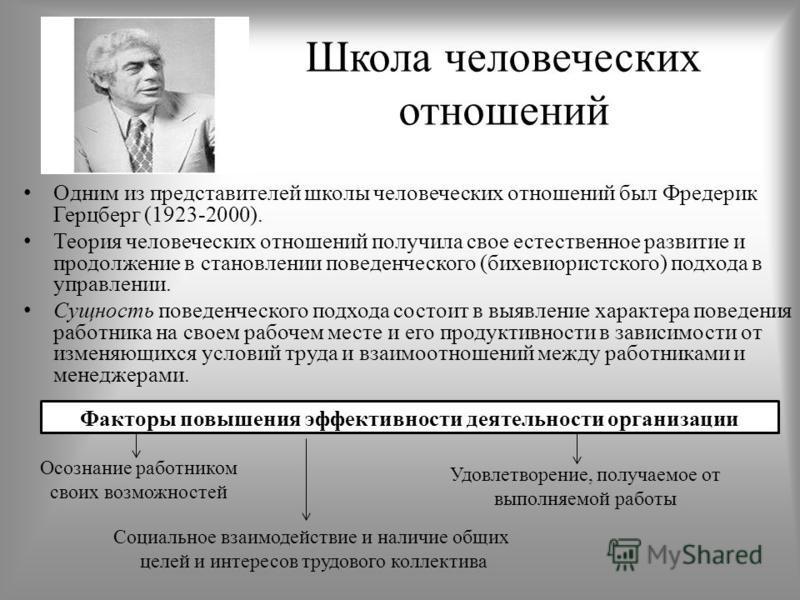 Школа человеческих отношений Одним из представителей школы человеческих отношений был Фредерик Герцберг (1923-2000). Теория человеческих отношений получила свое естественное развитие и продолжение в становлении поведенческого (бихевиористского) подхо