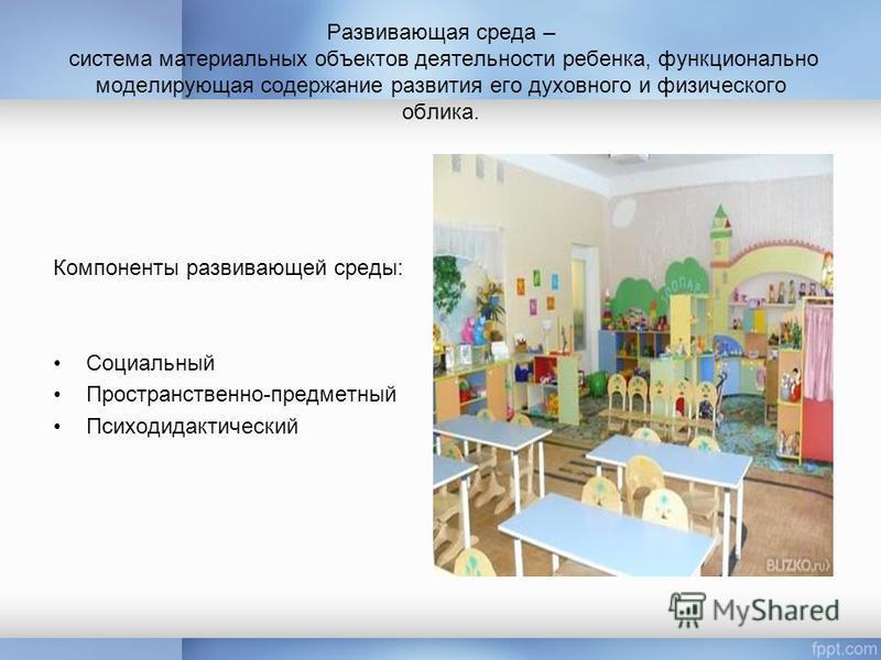 Развивающая среда – система материальных объектов деятельности ребенка, функционально моделирующая содержание развития его духовного и физического облика. Компоненты развивающей среды: Социальный Пространственно-предметный Психодидактический
