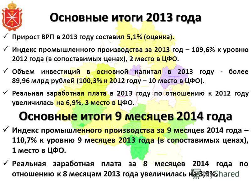 Основные итоги 2013 года Прирост ВРП в 2013 году составил 5,1% (оценка). Индекс промышленного производства за 2013 год – 109,6% к уровню 2012 года (в сопоставимых ценах), 2 место в ЦФО. Объем инвестиций в основной капитал в 2013 году - более 89,96 мл