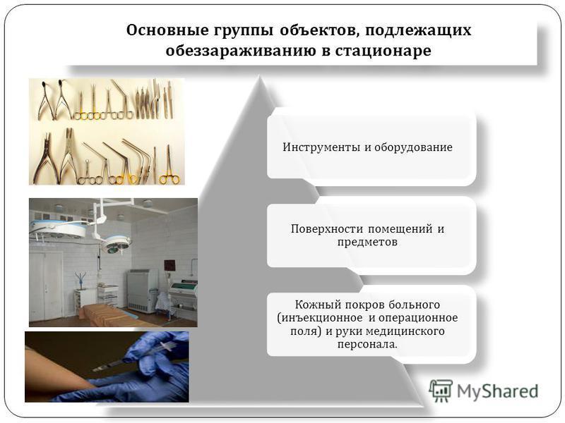 Основные группы объектов, подлежащих обеззараживанию в стационаре