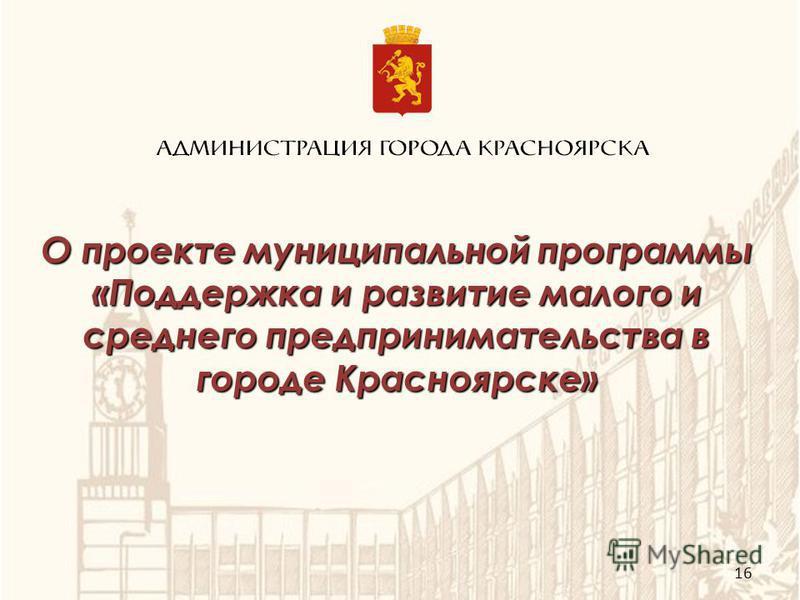 О проекте муниципальной программы «Поддержка и развитие малого и среднего предпринимательства в городе Красноярске» 16