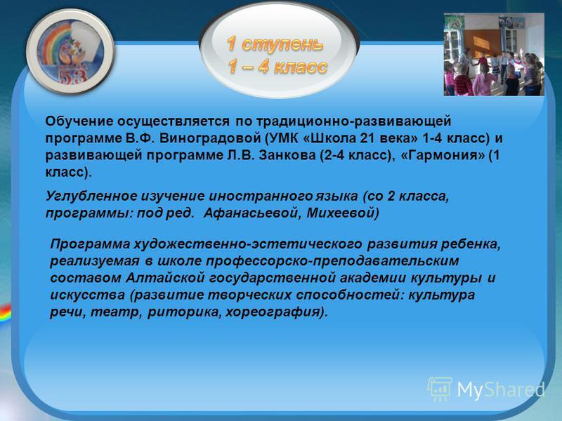Обучение осуществляется по традиционно-развивающей программе В.Ф. Виноградовой (УМК «Школа 21 века» 1-4 класс) и развивающей программе Л.В. Занкова (2-4 класс), «Гармония» (1 класс). Углубленное изучение иностранного языка (со 2 класса, программы: по
