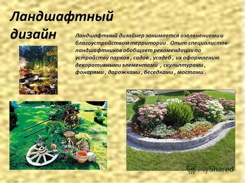 Ландшафтный дизайн Ландшафтный дизайнер занимается озеленением и благоустройством территории. Опыт специалистов- ландшафтников обобщает рекомендации по устройству парков, садов, усадеб, их оформлению декоративными элементами, скульптурами, фонарями,
