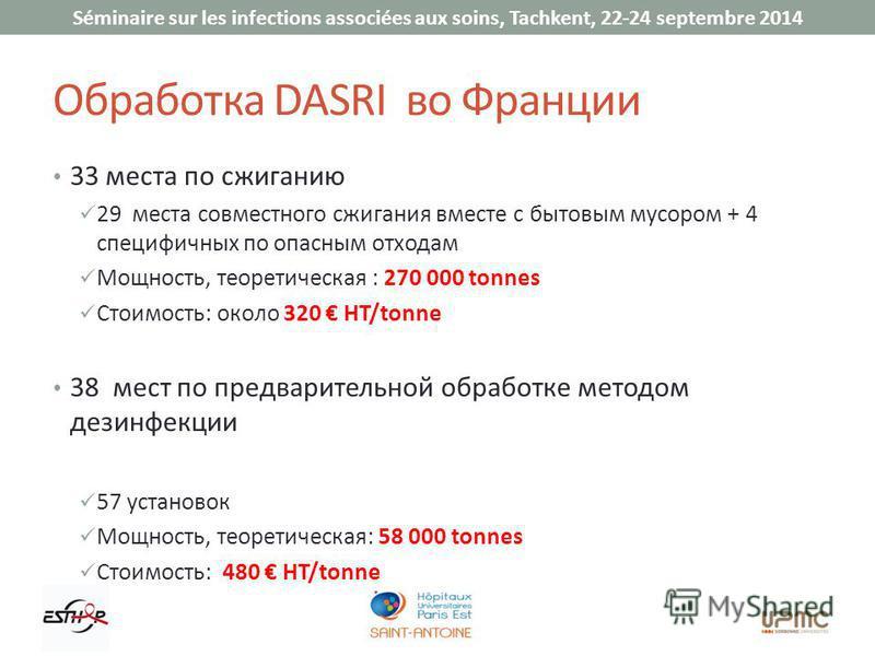 Séminaire sur les infections associées aux soins, Tachkent, 22-24 septembre 2014 Обработка DASRI во Франции 33 места по сжиганию 29 места совместного сжигания вместе с бытовым мусором + 4 специфичных по опасным отходам Мощность, теоретическая : 270 0