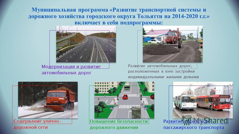 Муниципальная программа «Развитие транспортной системы и дорожного хозяйства городского округа Тольятти на 2014-2020 г.г.» включает в себя подпрограммы: Модернизация и развитие автомобильных дорог Развитие автомобильных дорог, расположенных в зоне за