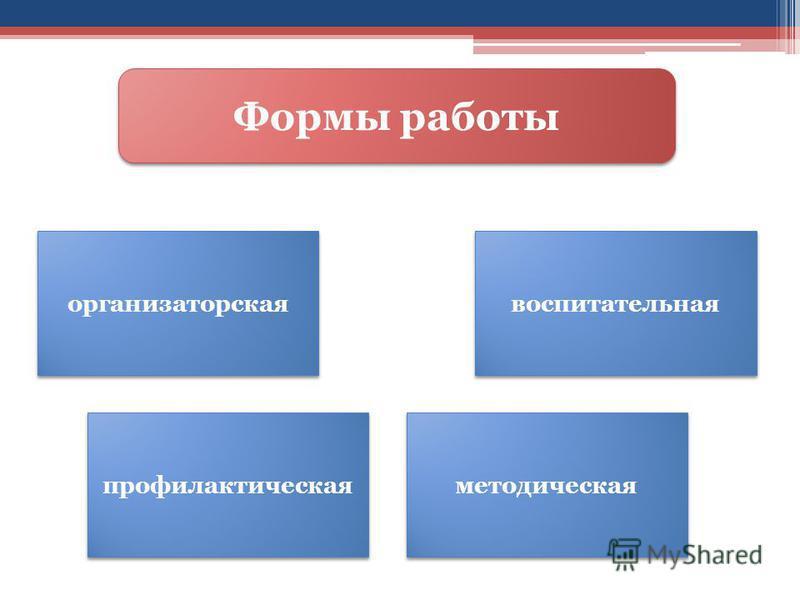 Формы работы организаторская профилактическая воспитательная методическая
