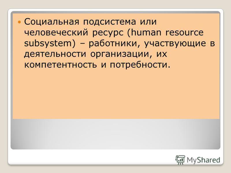 Социальная подсистема или человеческий ресурс (human resource subsystem) – работники, участвующие в деятельности организации, их компетентность и потребности.