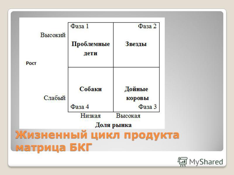 Жизненный цикл продукта матрица БКГ