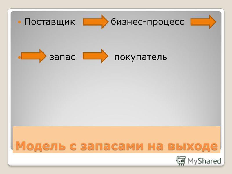 Модель с запасами на выходе Поставщик бизнес-процесс запас покупатель