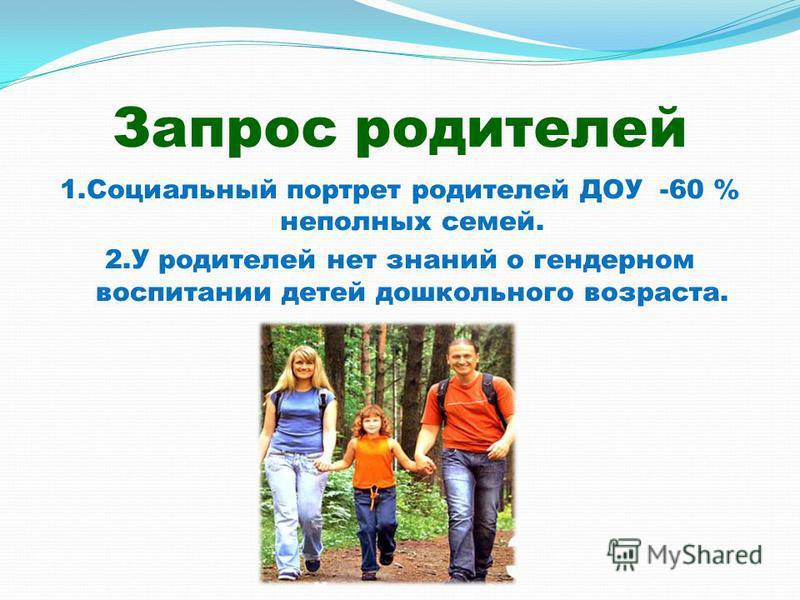 Запрос родителей 1. Социальный портрет родителей ДОУ -60 % неполных семей. 2. У родителей нет знаний о гендерном воспитании детей дошкольного возраста.