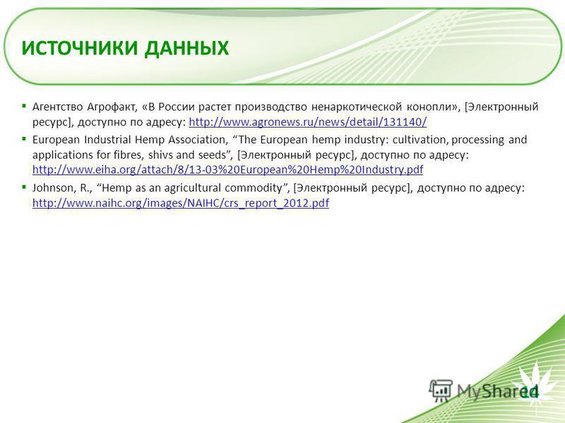 ИСТОЧНИКИ ДАННЫХ Агентство Агрофакт, «В России растет производство ненаркотической конопли», [Электронный ресурс], доступно по адресу: http://www.agronews.ru/news/detail/131140/http://www.agronews.ru/news/detail/131140/ European Industrial Hemp Assoc