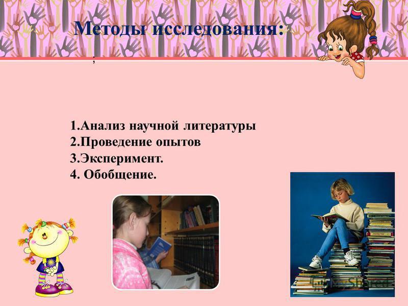 Методы исследования: 1. Анализ научной литературы 2. Проведение опытов 3.Эксперимент. 4. Обобщение. ;