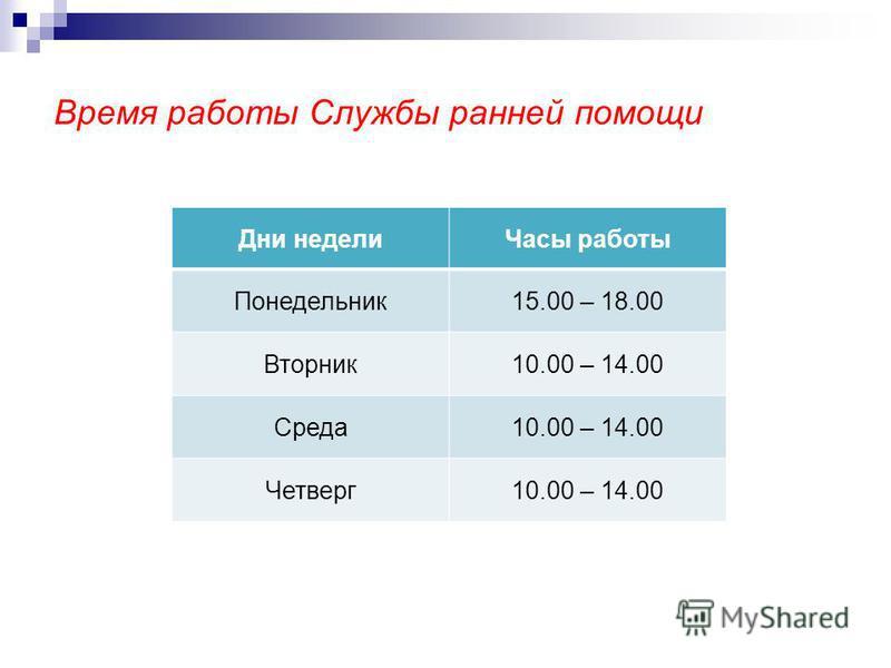 Время работы Службы ранней помощи Дни недели Часы работы Понедельник 15.00 – 18.00 Вторник 10.00 – 14.00 Среда 10.00 – 14.00 Четверг 10.00 – 14.00