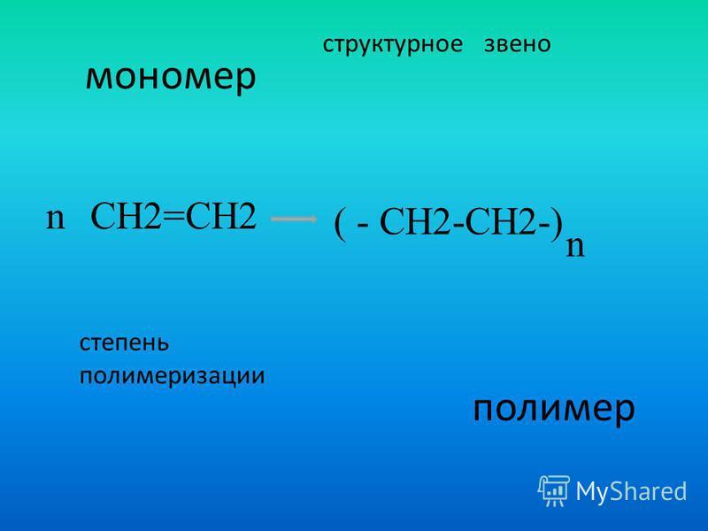 мономер полимер структурное звено степень полимеризации CH2=CH2 ( - CH2-CH2-) n n